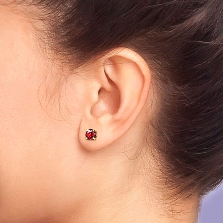 Ruby Round Gemstone Stud Earrings in Yellow Gold (4.1 mm) | 04