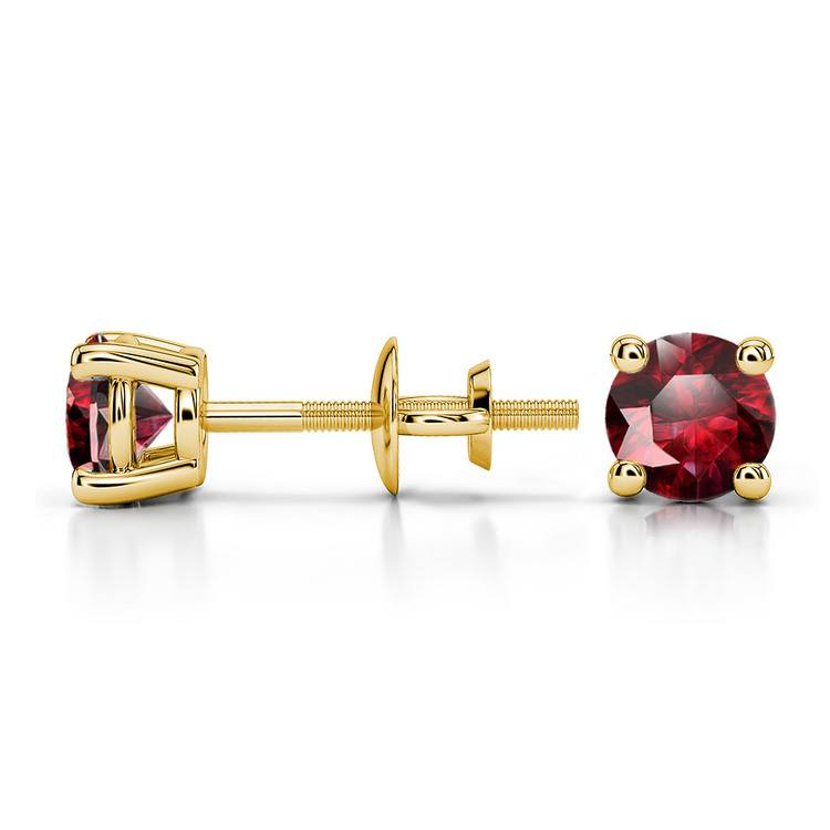 Ruby Round Gemstone Stud Earrings in Yellow Gold (4.5 mm) | 03