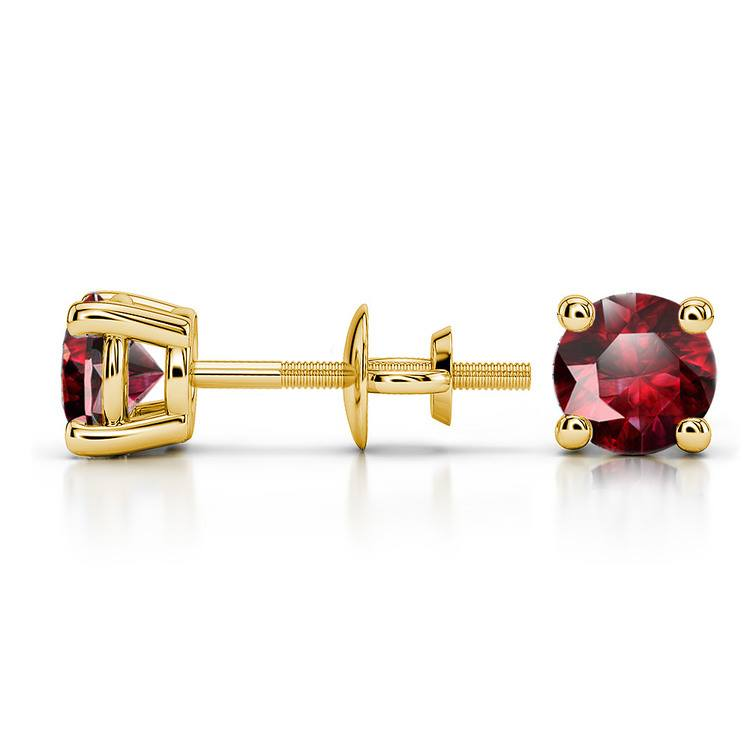 Ruby Round Gemstone Stud Earrings in Yellow Gold (5.1 mm) | 03