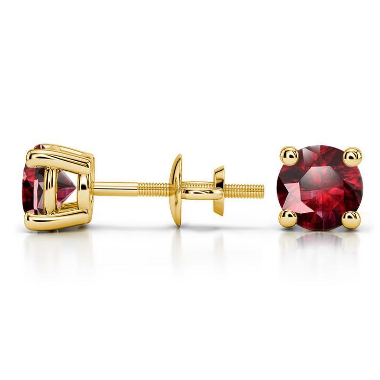 Ruby Round Gemstone Stud Earrings in Yellow Gold (5.9 mm) | 03