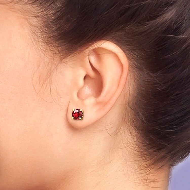 Ruby Round Gemstone Stud Earrings in Yellow Gold (6.4 mm) | 04