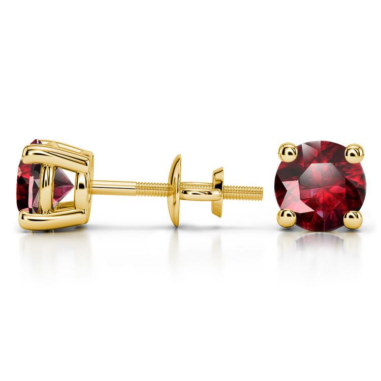 Ruby Round Gemstone Stud Earrings in Yellow Gold (6.4 mm) | 03