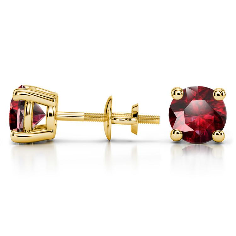 Ruby Round Gemstone Stud Earrings in Yellow Gold (7.5 mm) | 03
