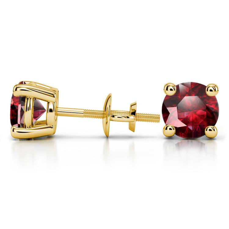 Ruby Round Gemstone Stud Earrings in Yellow Gold (8.1 mm) | 03