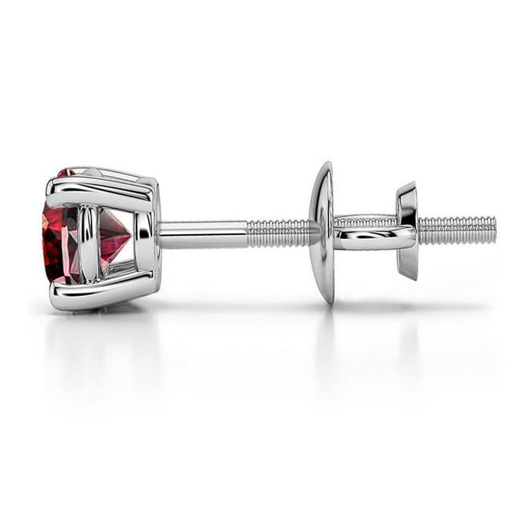 Ruby Round Gemstone Single Stud Earring In White Gold (4.1mm) | 03
