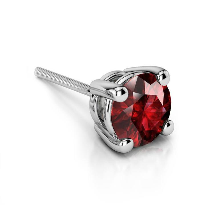 Ruby Round Gemstone Single Stud Earring In White Gold (6.4 mm) | 01