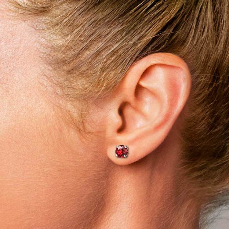 Ruby Round Gemstone Single Stud Earring In White Gold (6.4 mm) | 04
