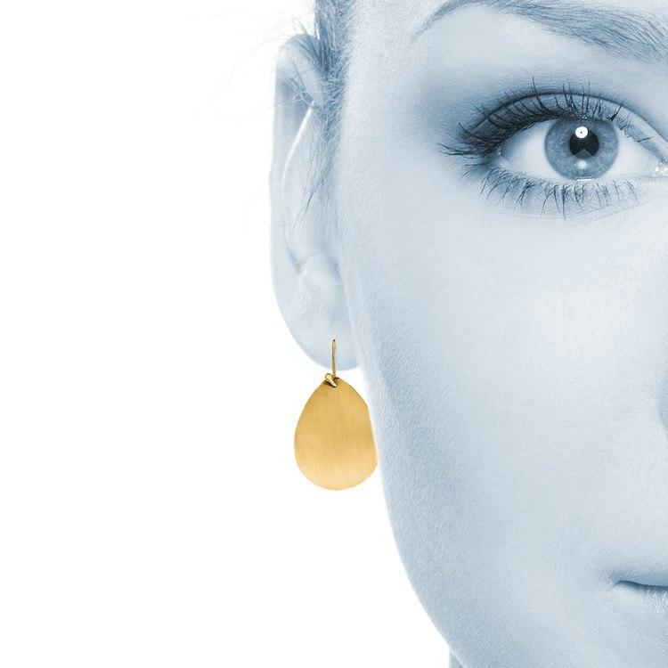 Satin Teardrop Disc Earrings in Yellow Gold | 03