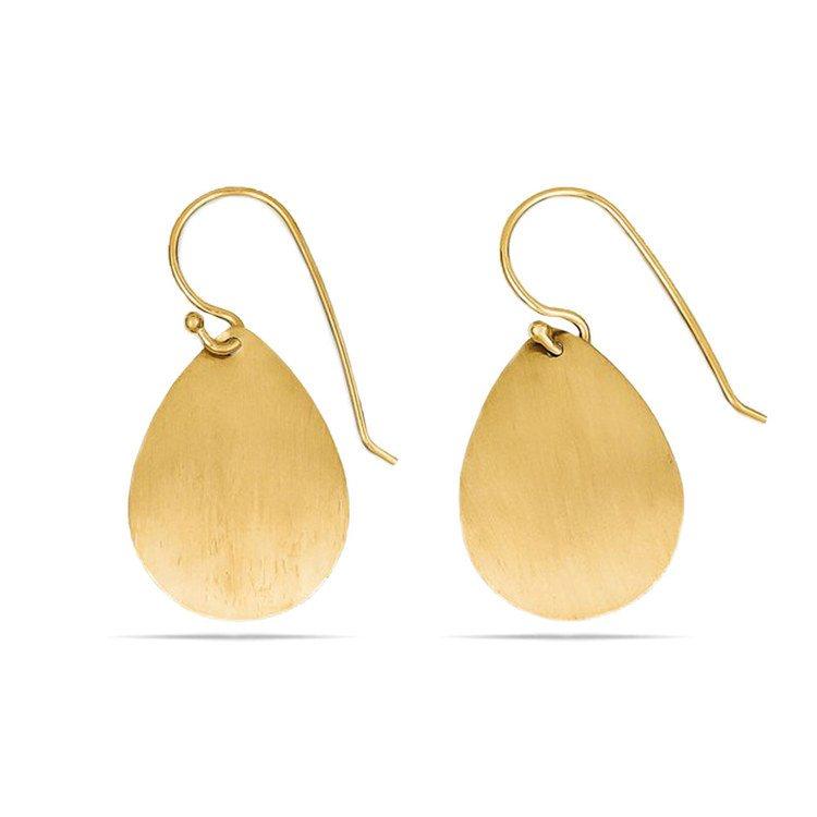 Satin Teardrop Disc Earrings in Yellow Gold | 01