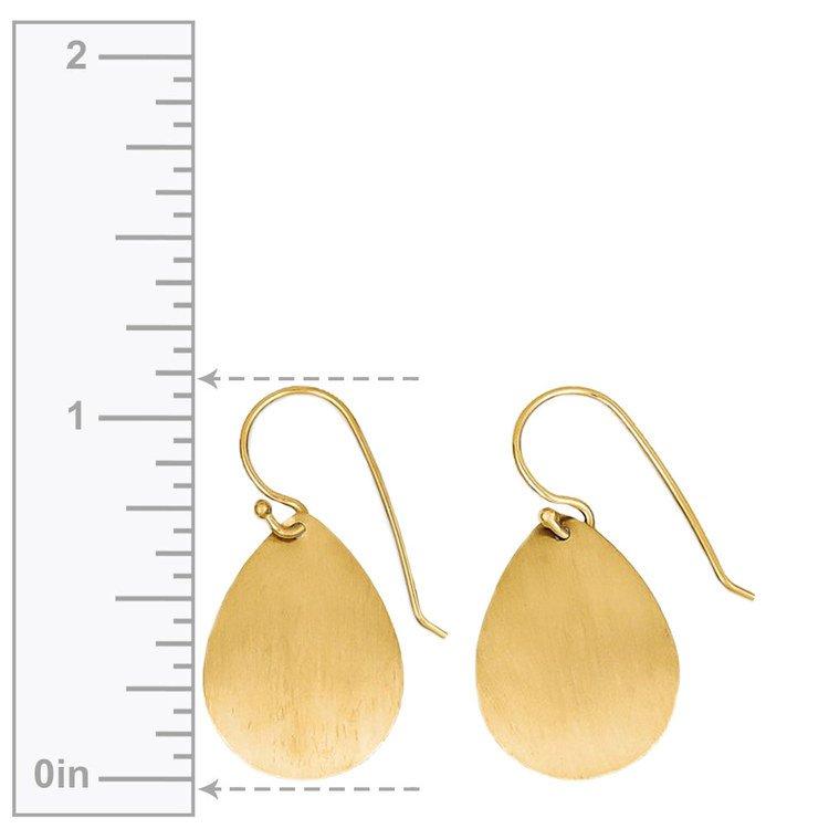 Satin Teardrop Disc Earrings in Yellow Gold | 02