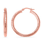 Scale Textured Hoop Earrings in Rose Gold   Thumbnail 01