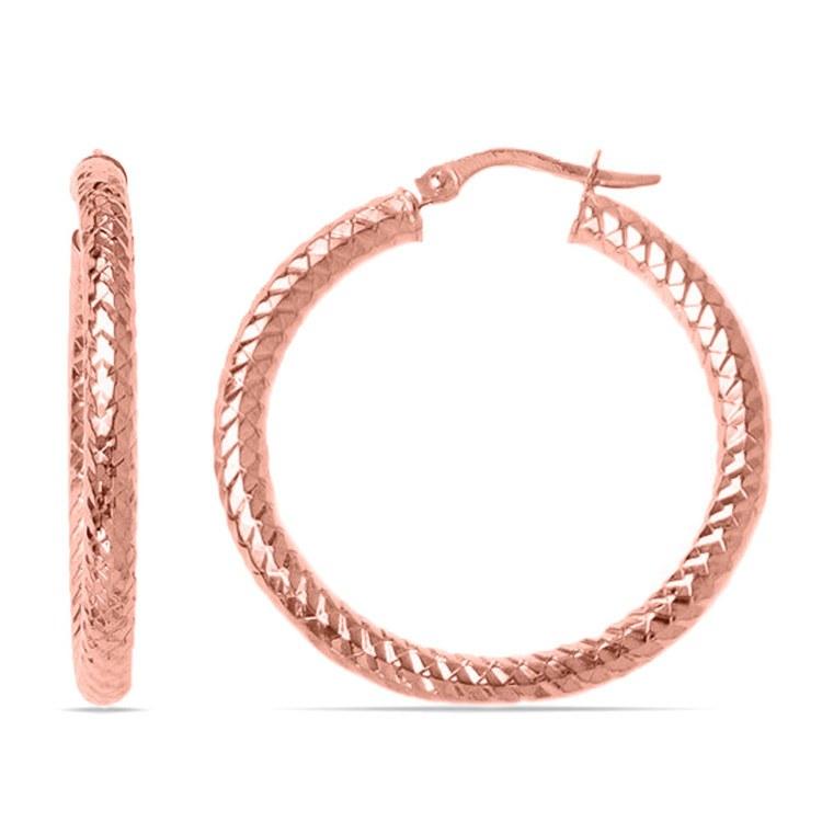 Scale Textured Hoop Earrings in Rose Gold   01
