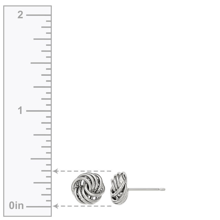 Smooth Love Knot Stud Earrings in White Gold | 03