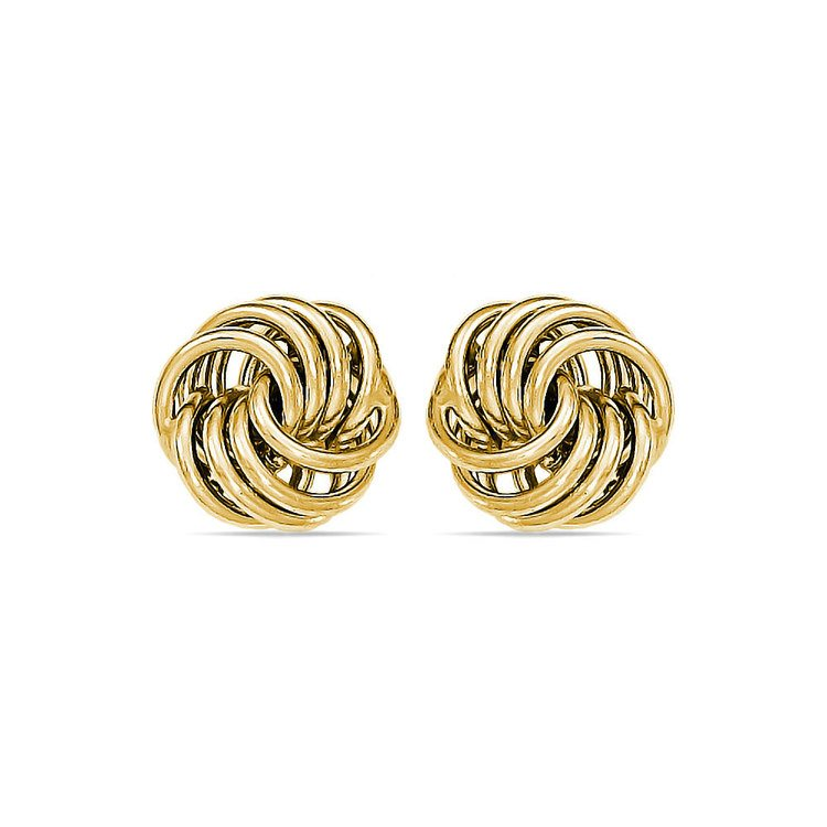 Smooth Love Knot Stud Earrings in Yellow Gold | 01