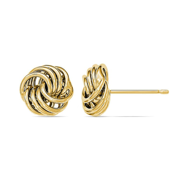 Smooth Love Knot Stud Earrings in Yellow Gold | 02