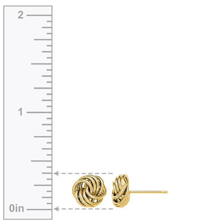 Smooth Love Knot Stud Earrings in Yellow Gold | 03