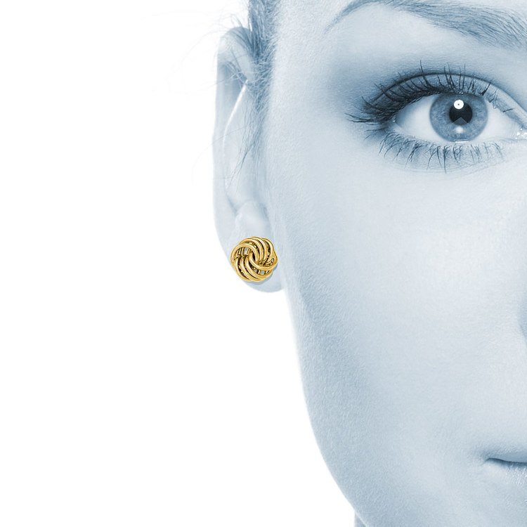 Smooth Love Knot Stud Earrings in Yellow Gold | 04