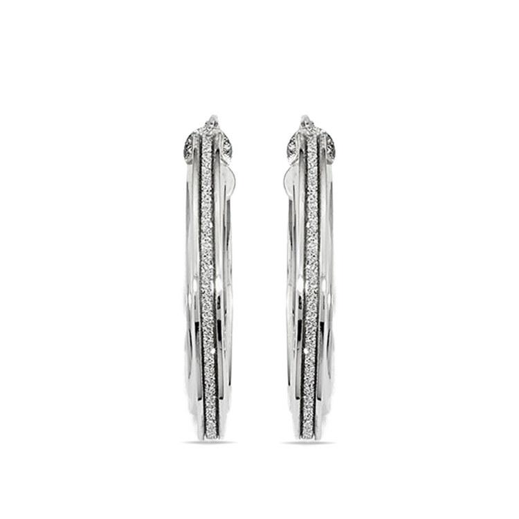 Sparkling Oval Hoop Earrings in White Gold | 02