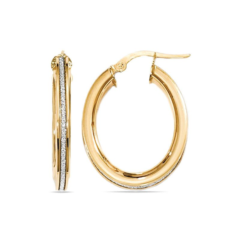 Sparkling Oval Hoop Earrings in Yellow Gold | 01