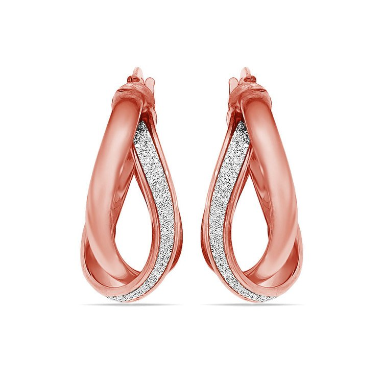 Sparkling Twisted Hoop Earrings in Rose Gold | 02