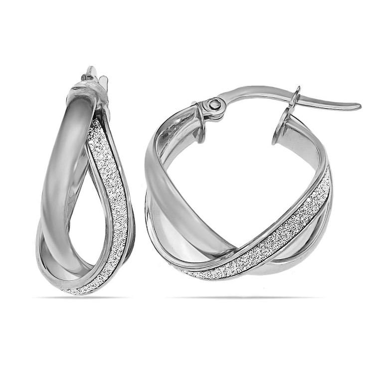 Sparkling Twisted Hoop Earrings in White Gold | 01