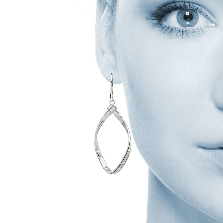Sparkling Twisted Leverback Hoop Earrings in 14K White Gold | 04