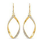 Sparkling Twisted Leverback Hoop Earrings in 14K Yellow Gold | Thumbnail 01