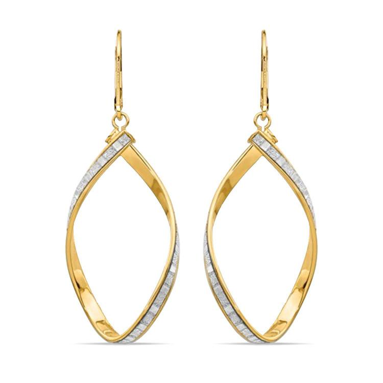 Sparkling Twisted Leverback Hoop Earrings in 14K Yellow Gold | 01