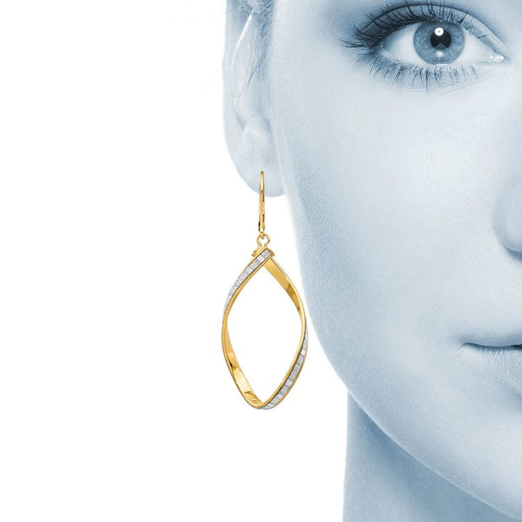 Sparkling Twisted Leverback Hoop Earrings in 14K Yellow Gold | 04