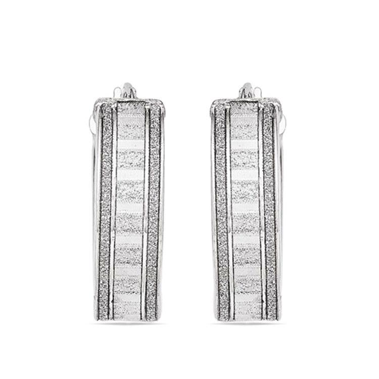 Sparkling Wide Oval Hoop Earrings in Silver | 02