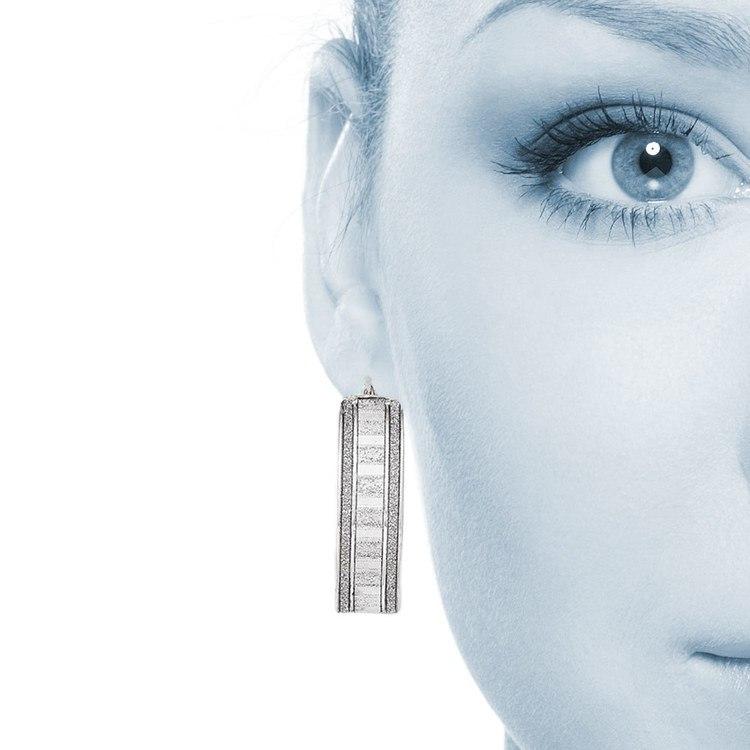 Sparkling Wide Oval Hoop Earrings in Silver | 04