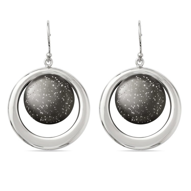 Starry Sky Dangle Earrings with Blackened Finish in Silver | 01