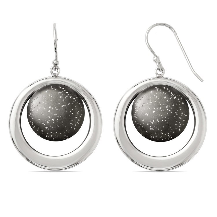 Starry Sky Dangle Earrings with Blackened Finish in Silver | 02