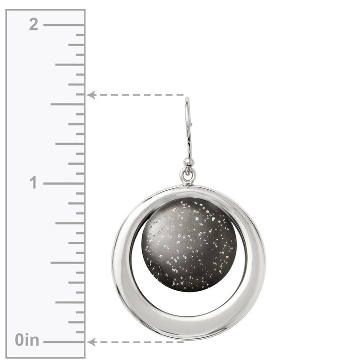 Starry Sky Dangle Earrings with Blackened Finish in Silver | 03