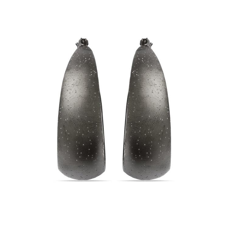 Starry Sky Hoop Earrings with Blackened Finish in Silver | 02