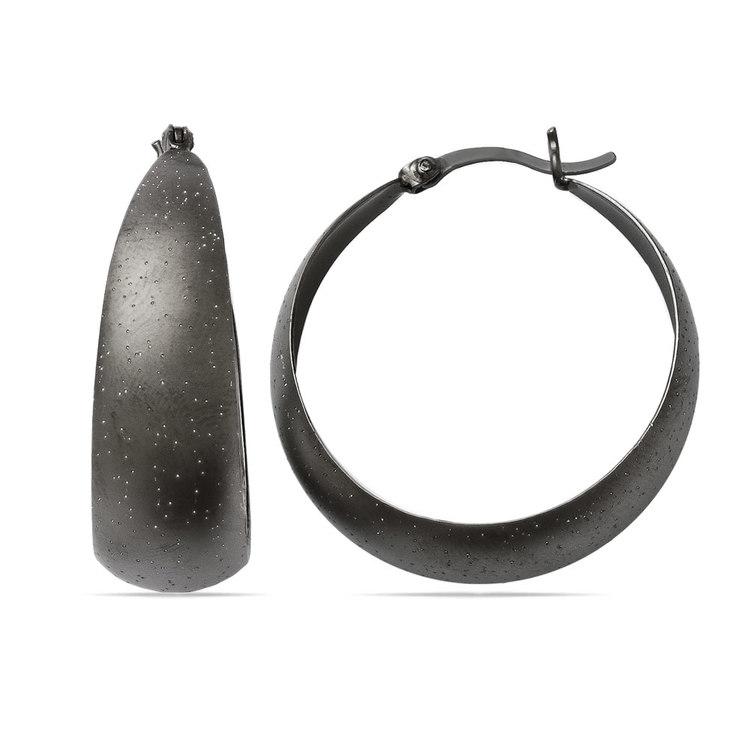 Starry Sky Hoop Earrings with Blackened Finish in Silver | 01