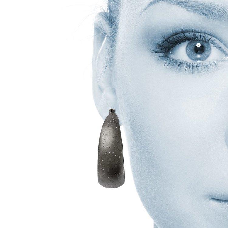 Starry Sky Hoop Earrings with Blackened Finish in Silver | 04