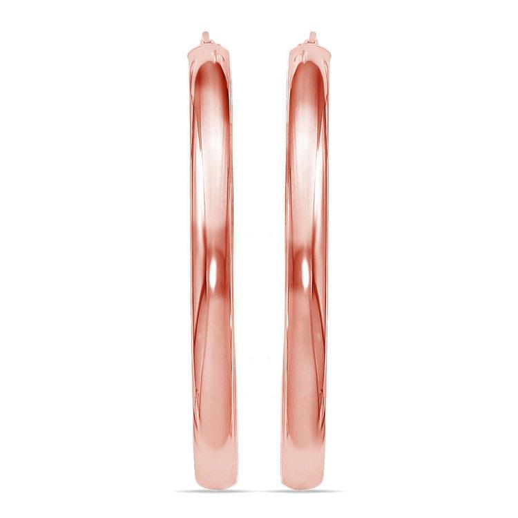 Statement Oval Hoop Earrings in Rose Gold   02