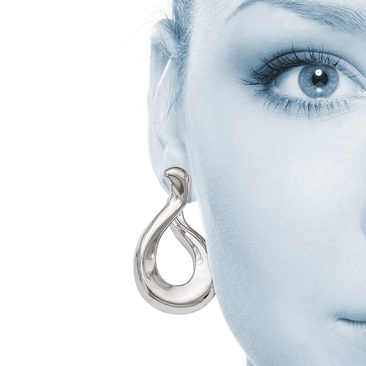Tapered Teardrop Twisted Hoop Earrings in Silver | 04