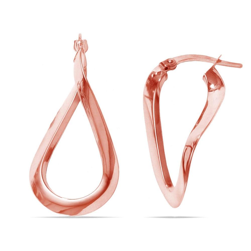 Teardrop Hoop Earrings In Rose Gold