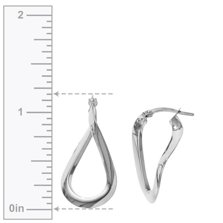 Teardrop Hoop Earrings in White Gold | 03