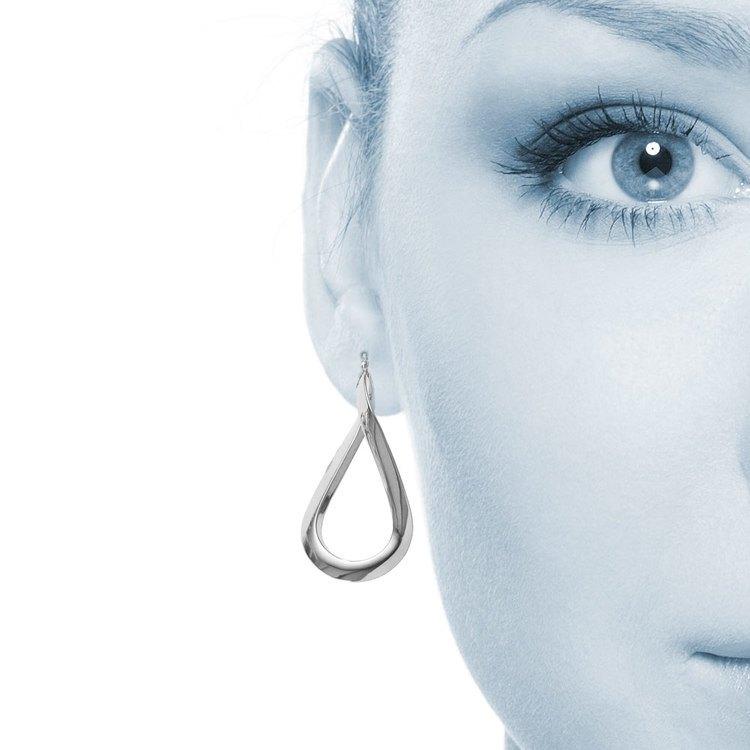 Teardrop Hoop Earrings in White Gold | 04