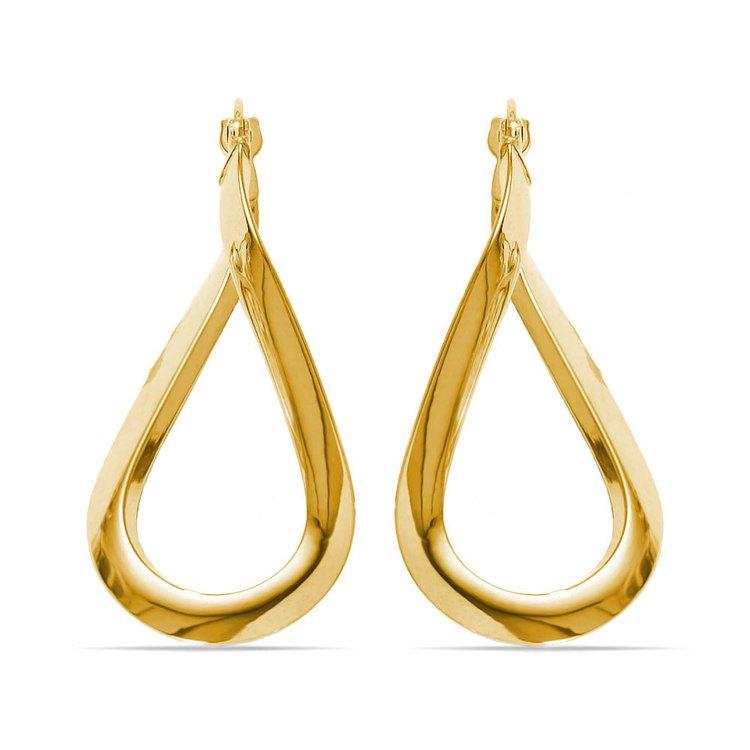 Teardrop Hoop Earrings in Yellow Gold | 02