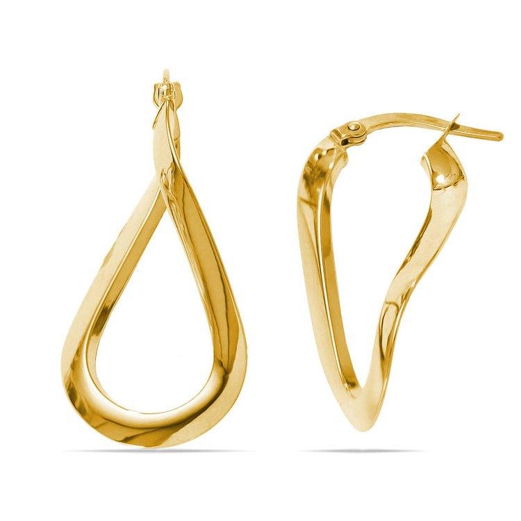 Teardrop Hoop Earrings in Yellow Gold | 01