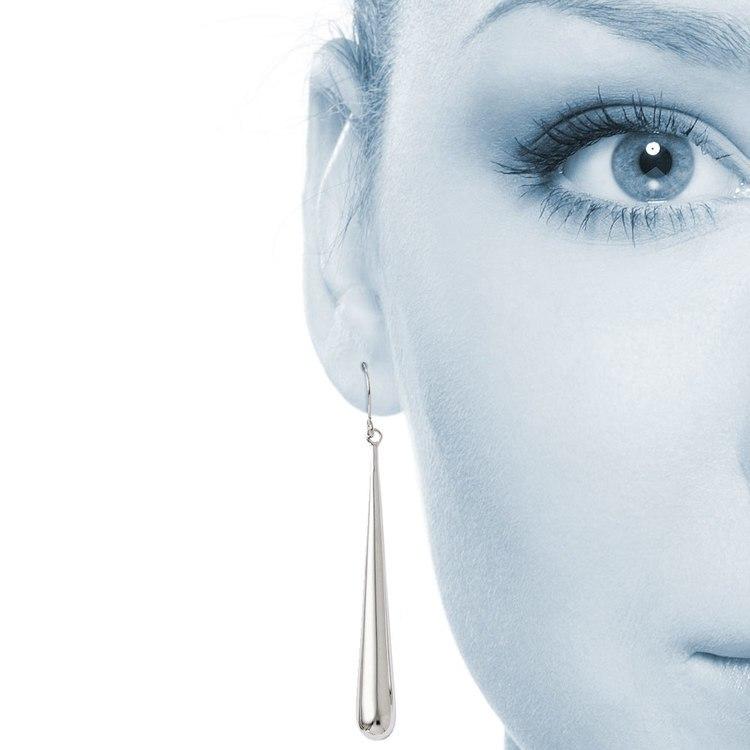 Teardrop Shepherd Hook Dangle Earrings in White Gold | 04