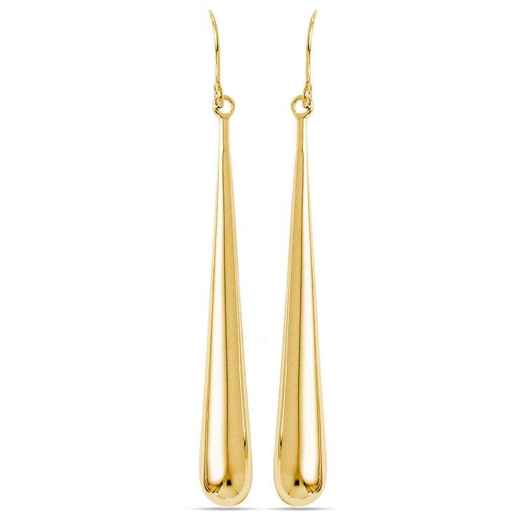 Teardrop Shepherd Hook Dangle Earrings in Yellow Gold | 01