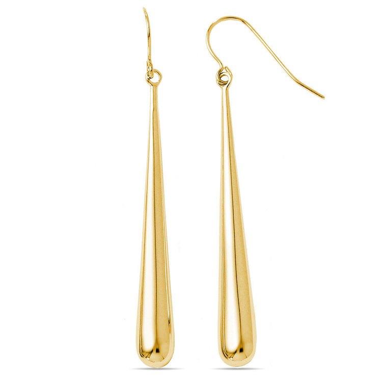 Teardrop Shepherd Hook Dangle Earrings in Yellow Gold | 02