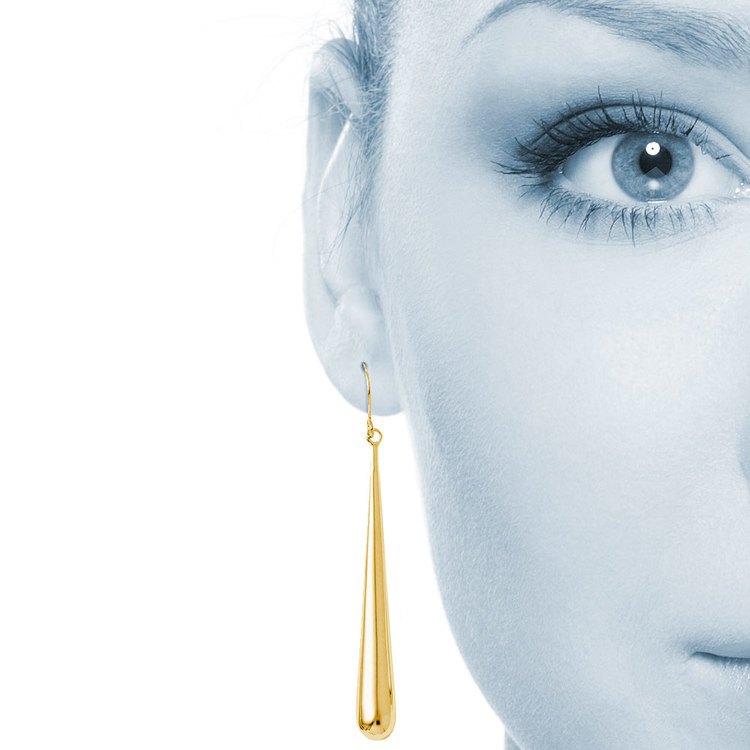 Teardrop Shepherd Hook Dangle Earrings in Yellow Gold | 04