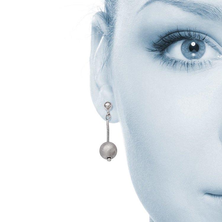 Textured Bead Dangle Earrings in Silver | 04