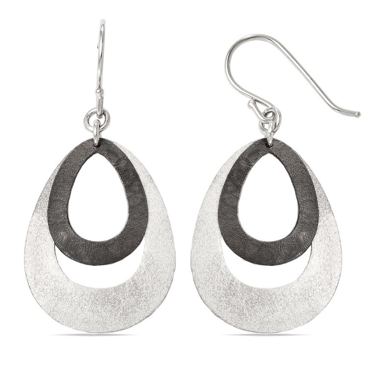 Textured Oval Dangle Earrings with Blackened Finish in Silver | 02